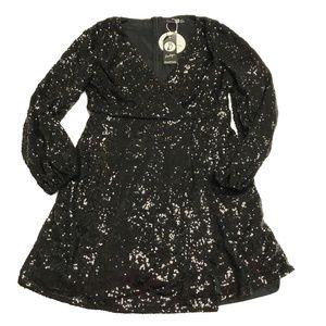 Boohoo Black Sequin Long Sleeve Wrap Skater Dress